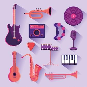 Set professional instruments to music festival celebration