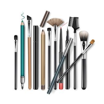 Set of professional makeup concealer powder blush eye shadow brow brushes
