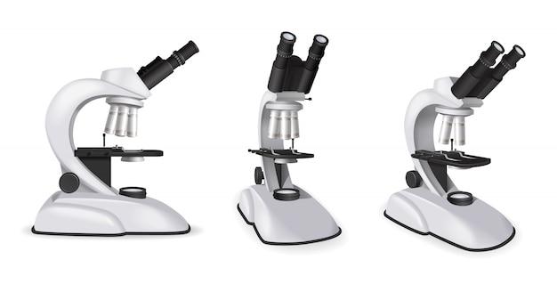 L'insieme della vista professionale del microscopio dagli angoli differenti nello stile realistico ha isolato l'illustrazione di vettore