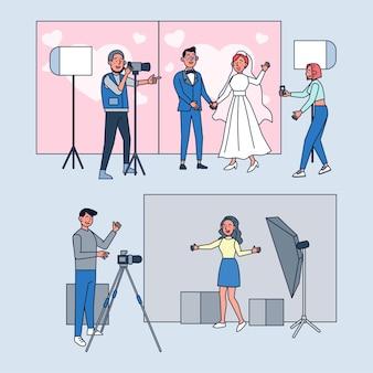 Set di fotografi professionisti che lavorano