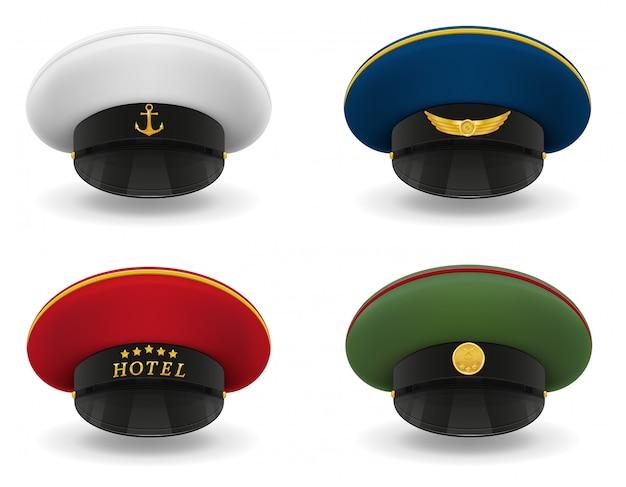 Set professional uniform caps vector illustration