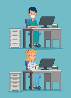 Set professional woman and man doctors in the office