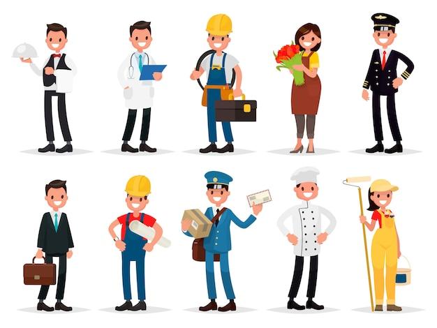 직업 설정 : 웨이터, 의사, 전기 기사, 꽃집, 조종사, 사업가, 엔지니어, 우편 배달부, 요리사, 화가. 프리미엄 벡터