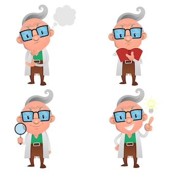 Set of professor cartoon characters, thinking, reading a book, searching and discovery an idea