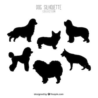 Set of profile dog silhouettes