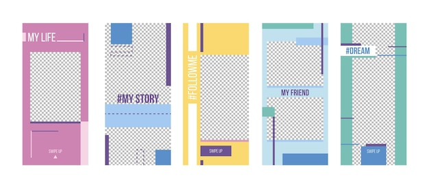 Set of profile life templates for social media stories. colorful abstract geometric style promo backgrounds for accounting, posting, photo report newsletter layouts, banners, vector illustration