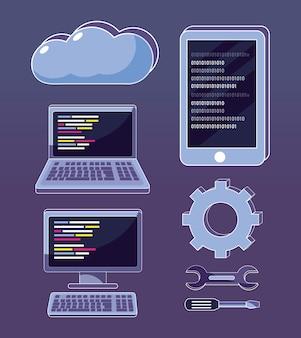 Set of program codes icons