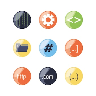 Set of programming code icons