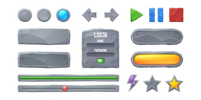 プログレスバーとゲームボタンのgui要素を設定する