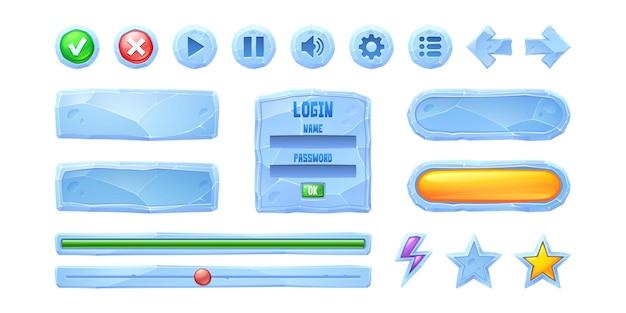 Imposta barre di avanzamento pulsanti di gioco di struttura del ghiaccio cartone animato menu congelato interfaccia ui o elementi gui utente ...