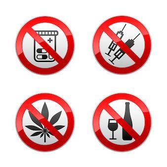 Установите запрещенные знаки - наркотики