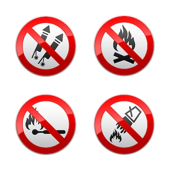 Set prohibited signs - fire