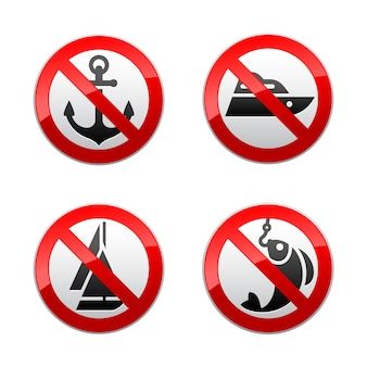 Set prohibited signs - fishing