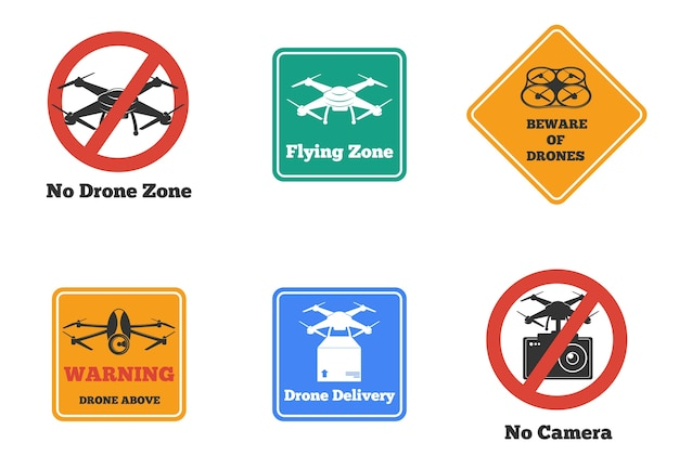 Set of prohibited and warning drone signs of various shape and color isolated