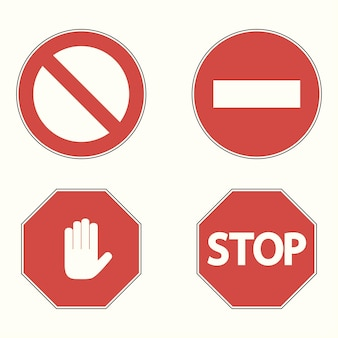 Set of prohibitory road signs. stop, no entry, hand block. vector illustration.