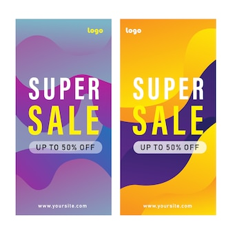 Set of promotion banner template design with abstract geometric shape background