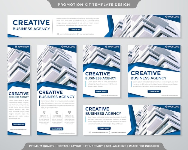 Set of promotion kit template minimalist style
