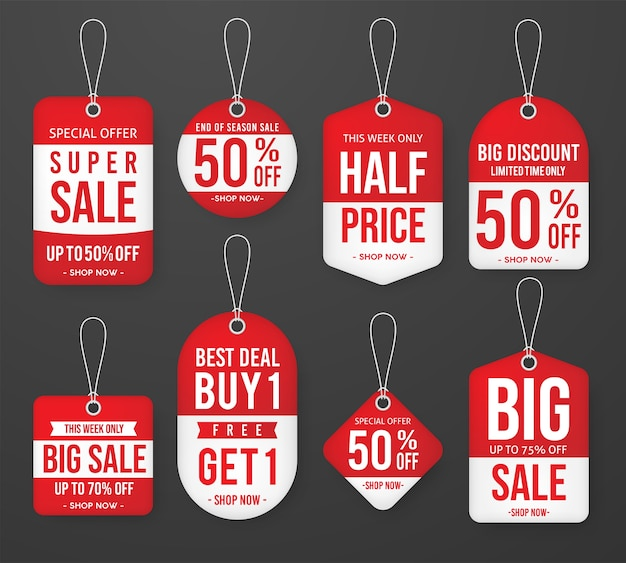 Set of promotion sale price tag label template