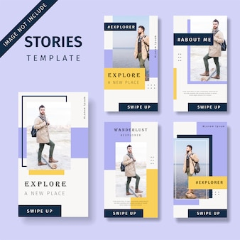 Set of promotion social media stories template