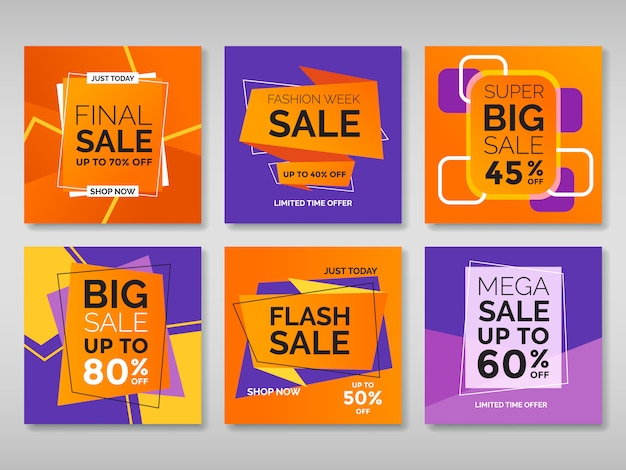 Set of promotion square banners