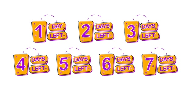 Set of promotional badges with 1, 2, 3, 4, 5, 6, 7 number of days left sign.