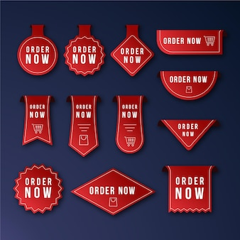 Set of promotional order now labels