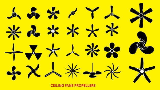 Set of propellers or ceiling fans propellers or engine propellers concept