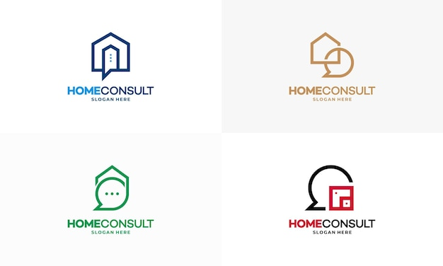 Set of property consult logo designs concept vector, house consulting agent logo template, real estate logo symbol