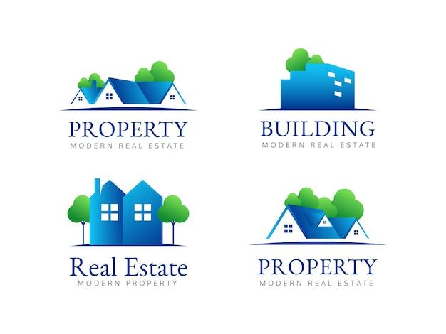 Set property real estate logo design concept
