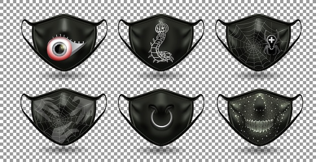 A set of protective comic black masks. for the coronavirus party, halloween and other fun.