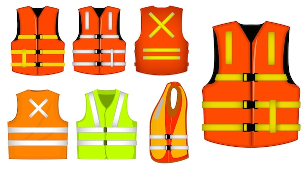 Set of protective construction wear or vest jacket safety or professional vest construction uniform