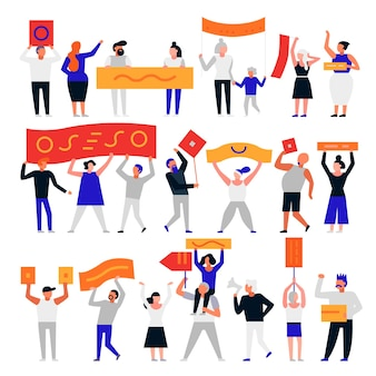 Insieme di persone che protestano con bandiere