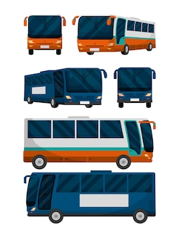 Set of public buses collection