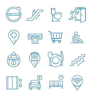 Set of public navigation icons with outline style