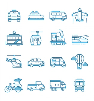 Set of public transport icons with outline style.