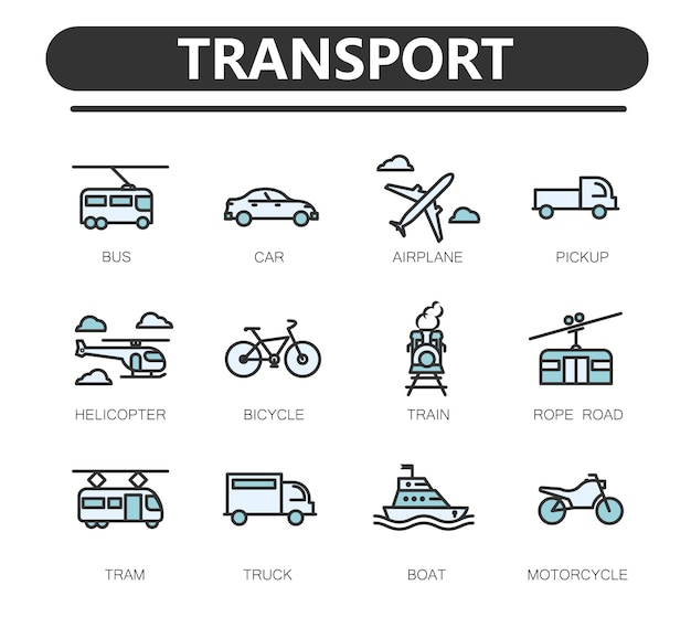 Set of public transport related line icons.