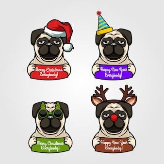 Установить мопс собака рождество