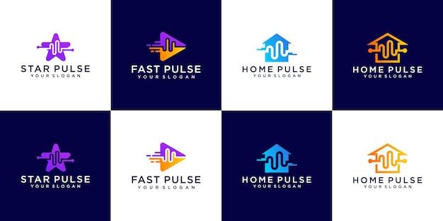 Установить импульсный логотип дизайн концепции