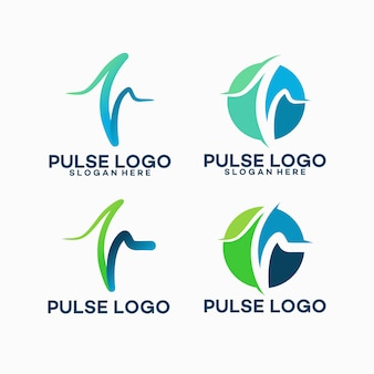 Set of pulse logo template