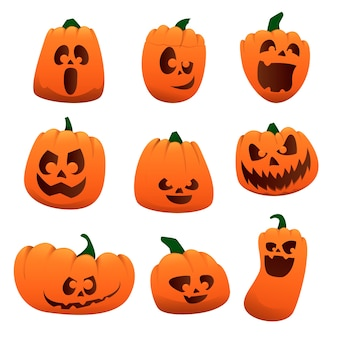 Set pumpkin character on a white background