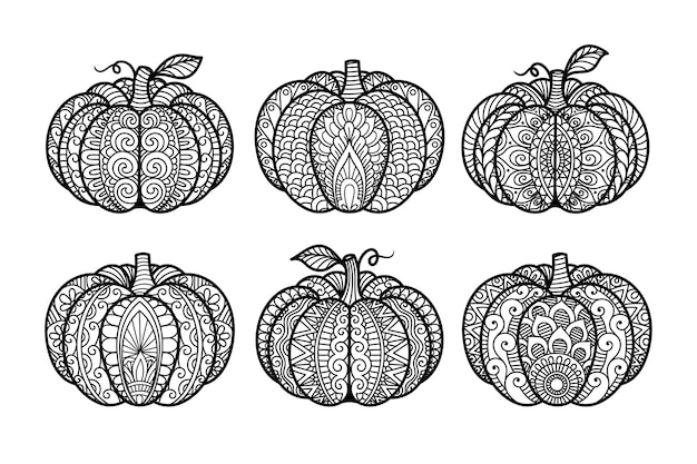 Set of pumpkin laser cutting for coloring