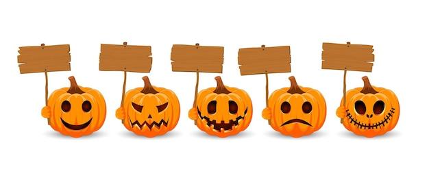 白い背景にカボチャを設定します木の板と笑顔のオレンジ色のカボチャ