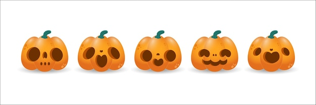 Set of pumpkin symbol of the happy halloween holiday orange pumpkin with smile isolated