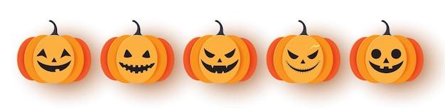 Set pumpkin on white background