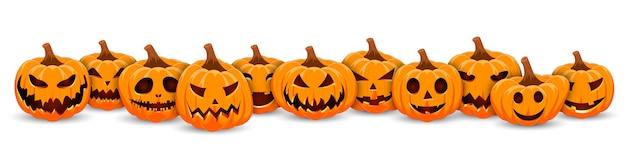 Set pumpkin on white banner background