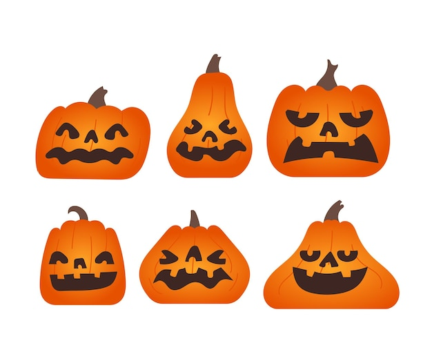 Set of pumpkin with various shape and emotion on white background.