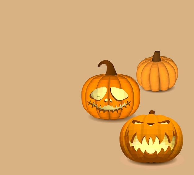 A set of pumpkins on a beige background for decoration of any holiday graphics for the halloween holiday.