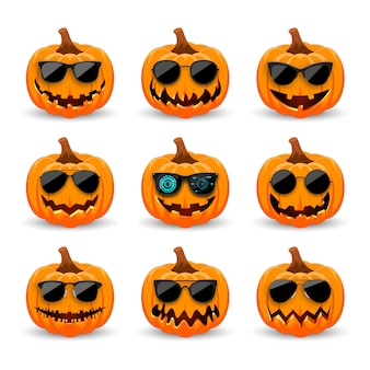 Set of pumpkins in black sunglasses.  hipster orange pumpkins with smile for the holiday halloween.