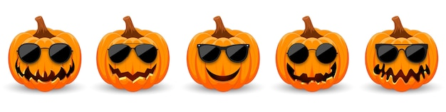 Set of pumpkins in black sunglasses. the main symbol of the holiday happy halloween.