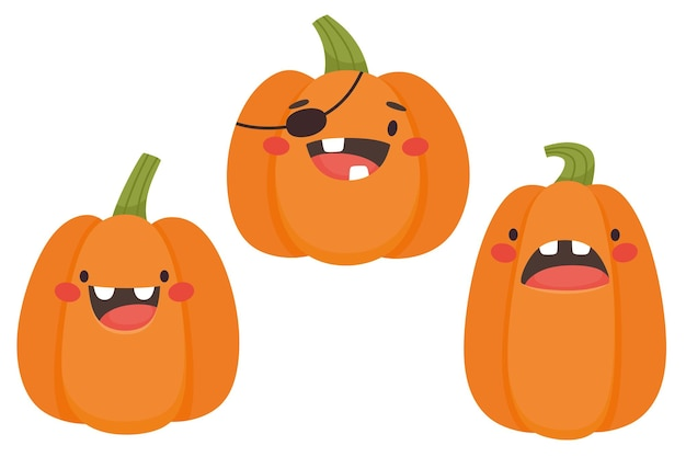 Set of pumpkins for halloween in cartoon style vector isolates on a white background